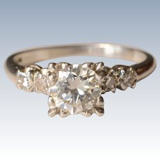 Stunning .75 Carat Single Diamond Stone Platinum Engagement Ring