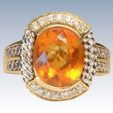 14K Yellow & White Gold Diamond & Citrine Cabochon Cocktail Ring
