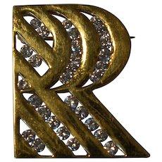 Stunning .87 Cts Diamond 18 K Yellow Gold Triple R Brooch/Pin
