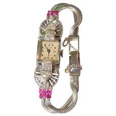 Gorgeous Vintage 14K White Gold Diamond & Rubies Bulova Ladies Cocktail Wristwatch