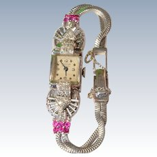Gorgeous Vintage 14K White Gold Diamond & Rubies Bulova Ladies Cocktail Wristwatch