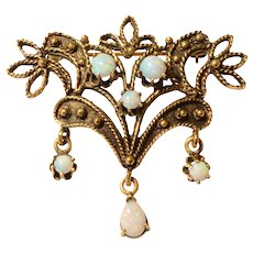 Victorian 14K Yellow Gold Floral Opal Brooch/Pin