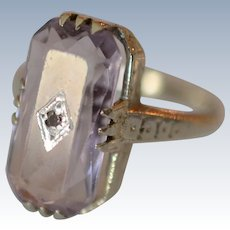 Antique Art Deco Large Amethyst and Diamond 20K White Gold Ring