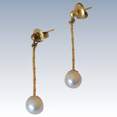 14K Yellow Gold and Cultured Pearl Suspended Stud Earrings