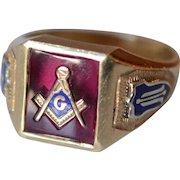 Vintage 10K Yellow Gold and Enamel Masonic Mens Signet/Ring