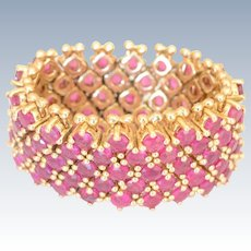 14K Yellow Gold and Rubies Flexible Mesh Band Ring