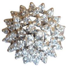 Vintage 14K White Gold 1.3 tcw. Diamond Cocktail Ring