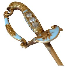 Victorian 14K Yellow Gold Diamond Blue Enamel Sword Stick Pin with Eagle Head