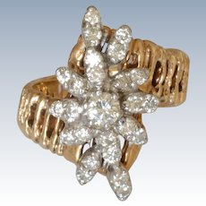 14K Yellow Gold 1.00ct t.w. Round Diamond Cluster Cocktail Ring