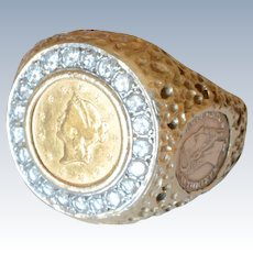 14K Yellow Gold Mens .60ct t.w. Diamond Signet/Ring with a 22K American 1$ Liberty Head Coin