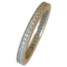 Vintage 14K White Gold Pave Diamond Infinity Band/Ring