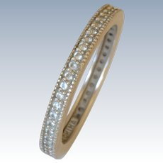 Vintage 14K White Gold Pave Diamond Infinity Band/Ring