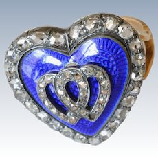 Antique Victorian English Royal Blue Enamel Diamond 18K Yellow Gold Heart Ring
