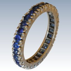 14K White Gold Sapphires Eternity Band/Ring