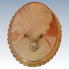 Vintage 14K Yellow Gold Shell Cameo Diamond Brooch/Pendant