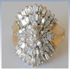 Dazzling Vintage 10K Yellow Gold 1.8 Tct Diamond Pave Cocktail Ring