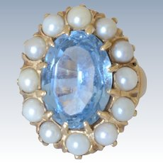 Gorgeous Victorian 14K Yellow Gold Blue Sky Topaz & Pearl Ring