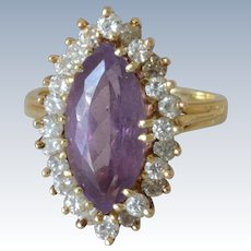 Stunning 14K Yellow Gold 0.7 Tcw Diamond & Double Claw-Set Marquise Amethyst Ring