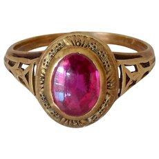 Art Deco 14K Yellow Gold Tourmaline Ring
