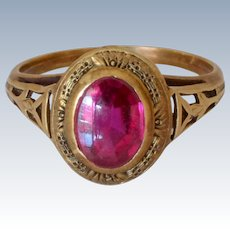 Art Deco 14K Yellow Gold Tourmaline Ring