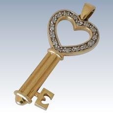 14K Yellow Gold Diamond Key Pendant
