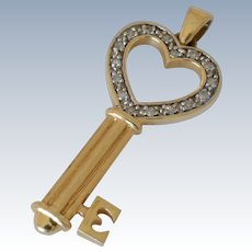 14K Yellow Gold Diamond Key Pendant