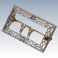 Art Deco 14K White Gold Filigree Blue Topaz Belt Buckle Brooch/Pin