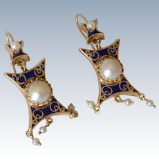 Victorian 14K Yellow Gold dark Blue Enamel Pearl Drop Pierced Earrings