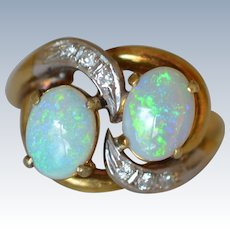 1950s 14K Yellow Gold Opal and Diamond Ring