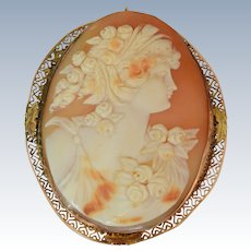 Extra Large 14K Yellow Gold Shell Cameo Woman and Flowers