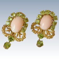 14K Yellow Gold Angel Skin Coral Peridots Clip-on Earrings