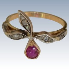 Antique 14K Yellow Gold Ruby and Rose Cut Diamond Ring