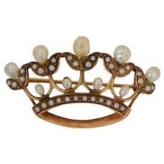 Vintage 14K Yellow Gold Fresh Water Pearl Crown Brooch/Pin