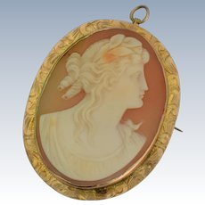 Vintage 14K Yellow Gold Shell Cameo Brooch/Pendant