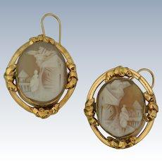 Charming 10K Yellow Gold Shell Cameo Drop Earrings