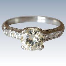 Elegant .90 Carat Single Round-cut Diamond Stone Platinum Engagement Ring