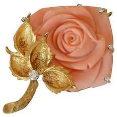 Amazing Large 18K Yellow Gold Pink Coral and Diamond Brooch/Pendant