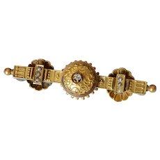 Victorian 14K Yellow Gold Diamond & Pearl Bar Brooch/Pendant