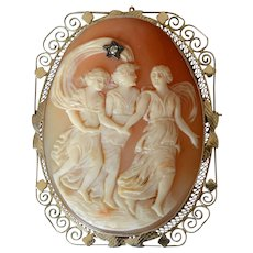 Sunning Antique Extra Large 14K White Gold Curved Shell Cameo Diamond Filigree Three Graces Brooch/Pendant