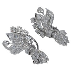 Huge Five Carat Total Weight Brilliant and Baguette Diamond Clip on/Pierced 18K White Gold Earrings
