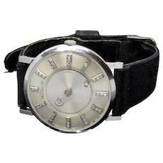 Elegant 14K White Gold Diamond Dial LeCoultre Mystery Manual Wind Unisex 33mm Watch