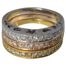 Stacking Starlight Diamond Eternity Rings in 18K White, Rose and Yellow Gold