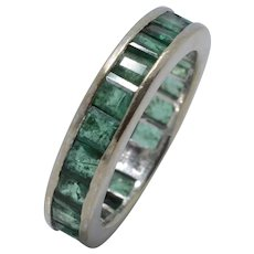 14K White Gold Princess-Cut Emerald Eternity Ring Band