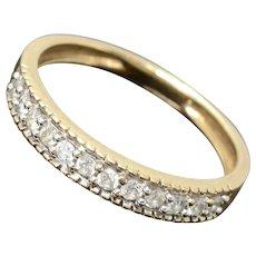 Half Eternity Pave Diamond 14K Yellow Gold Wedding Band