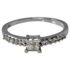Elegant 14K White Gold Diamond Engagement Ring