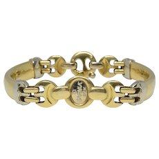 Fine 18K Yellow Gold Baraka Italy Bar Link Men's Bracelet