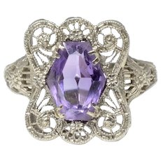 Exquisite Art Deco 14K White Gold Amethyst Filigree Cocktail Ring
