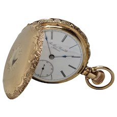 Vintage 14K Yellow Gold Rockford Men's Hunter Case Pocket Watch