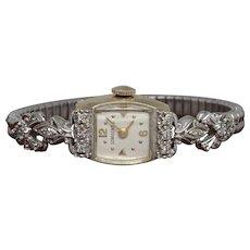 Vintage Art Deco 14K White Gold Diamond Ladies Longines Swiss Wristwatch w/ Box and Pamphlet