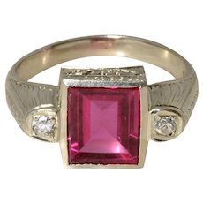 Art Deco 14K White Gold Synthetic Ruby Diamond Ring